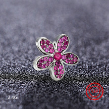 925 Sterling Silver Multi-colored Flower Beads Suitable for Pandora Bracelet Jewelry DIY Valentine Gift