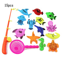 Baby Educational Toys 15pcs Set Magnetic Fishing Toy Game Kids 1 Rod And 1 Net And