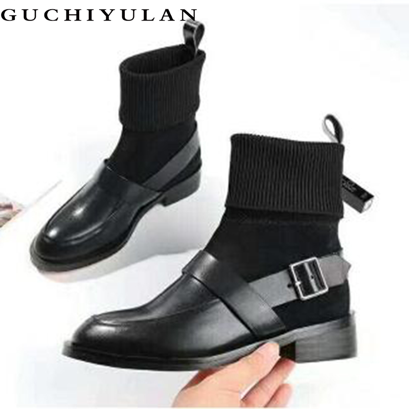 GUCHIYULAN 100% en cuir véritable femmes bottes en cuir naturel cheville bottes mode bout Pointu à talons hauts dames chaussures pour femmes