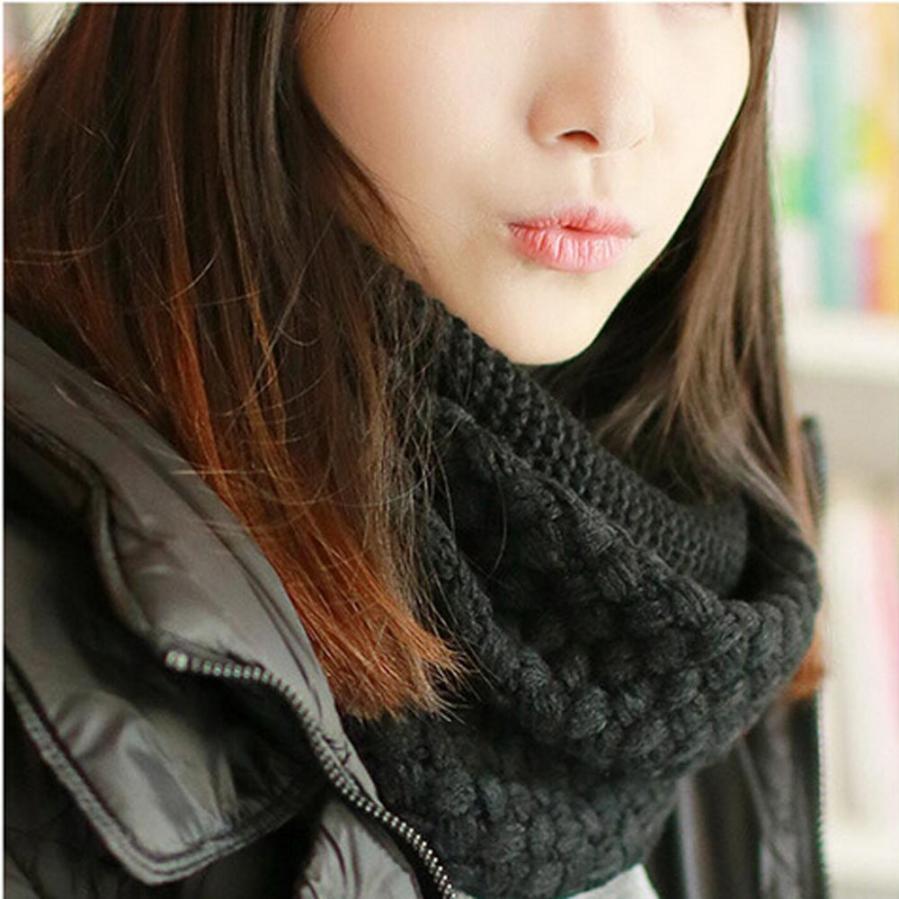 JECKSION Winter winter scarves Warm Two Circle Cable Knit Cowl Neck Scarf bufandas de invierno