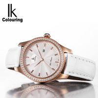 IK Colouring Fashion Womens Watches Luxury Brand Leather Band Ladies Dress Quartz Wristwatches With Gift Box