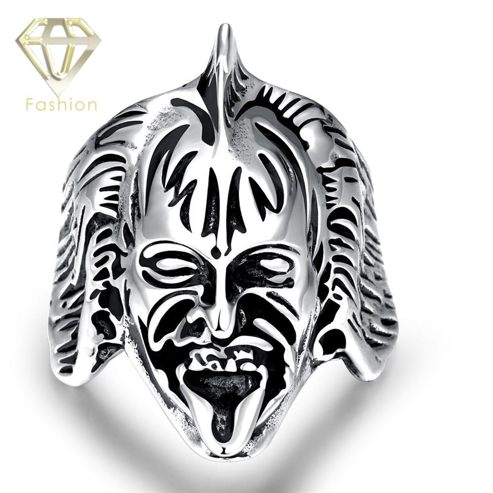 Cool Rings Punk Gothic Mask Human Head Skull Biker Finger Ring Silver Plated 316L Stainless Steel Wide Jewelry for Men Party