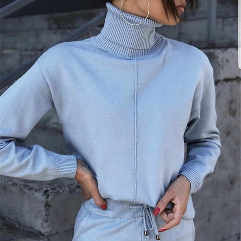 Autumn winter Knitted tracksuit Turtleneck sweatshirts Fashion Women Suit clothing 2 Piece set Knit pant Female Sporting suit