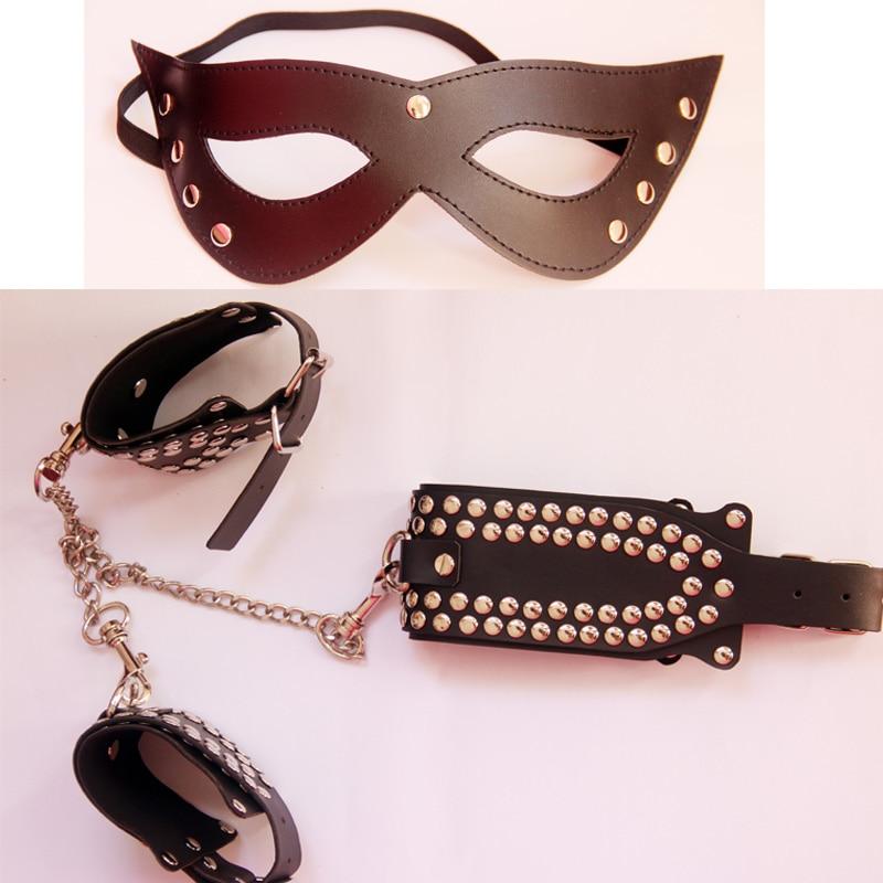 Porno Sex Handcuffs Sex Collar mask Bondage Set Sexy Lingerie Handcuffs for sex
