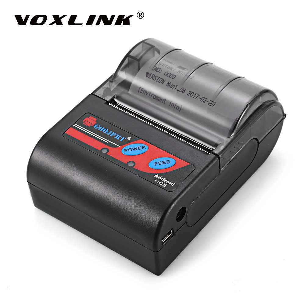 VOXLINK Wireless 58MM Portable Bluetooth Thermal Printer Receipt Machine for Windows Android iOS Smartphone with EU Plug goojprt mtp ii 58mm bluetooth thermal printer portable rechargeable wireless receipt machine for windows android ios 80mm s