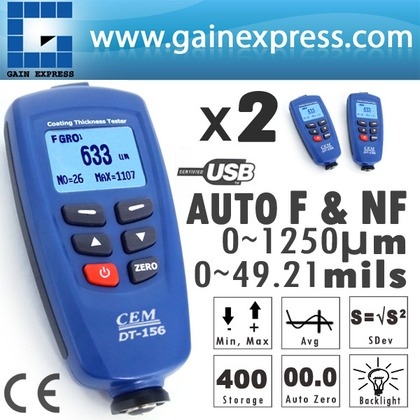 2 pieces x Digital DT-156 Paint Coating Thickness Gauge Meter Tester 0~1250um + Auto F & NF Probe + USB Cable + CD software  цены