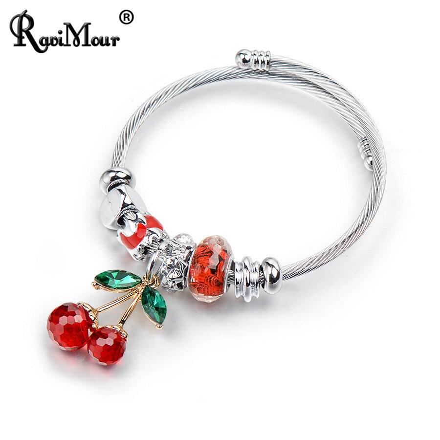 da2c9d150bc7 Pulseras y brazaletes de acero inoxidable RAVIMOUR pulsera de cristal de  cerezo grande para mujer joyería de moda abalorios DIY regalos nuevos 2018