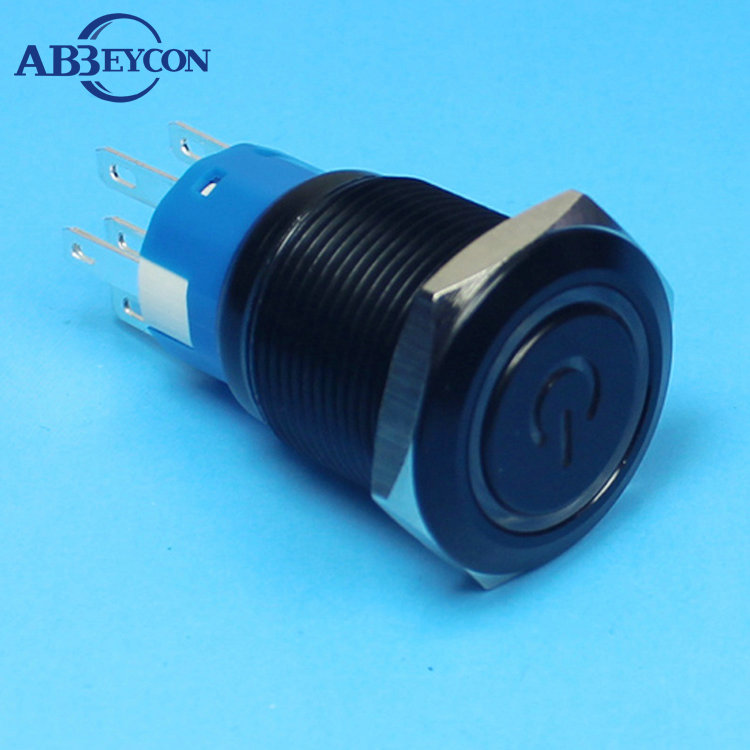 19138 19mm power character latching illuminated DPDT 2NO2NC metal button power logo switch