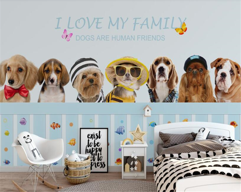 Beibehang Wallpaper untuk Dinding 3 D HD Anjing Lucu Kamar Anak Stiker Dinding Latar Belakang Dekorasi