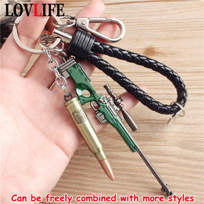 Liga de bala chaveiro quente jogo pubg metal chaveiro chaveiro para presentes do jogador modelo de arma pingente carro chaveiros