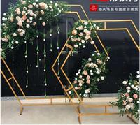 New wedding props hexagonal arch wedding diamond iron arch shelf stage decoration decoration pieces background frame.