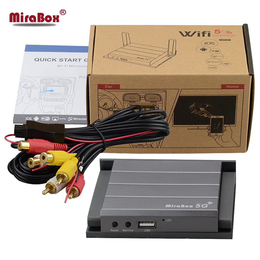 Mirabox 5G voiture wifi Mirrorlink Box Support Youtube Mirroring pour téléphone iOS12 pour téléphone Android voiture et maison Mirrorlink Box avec HDMI