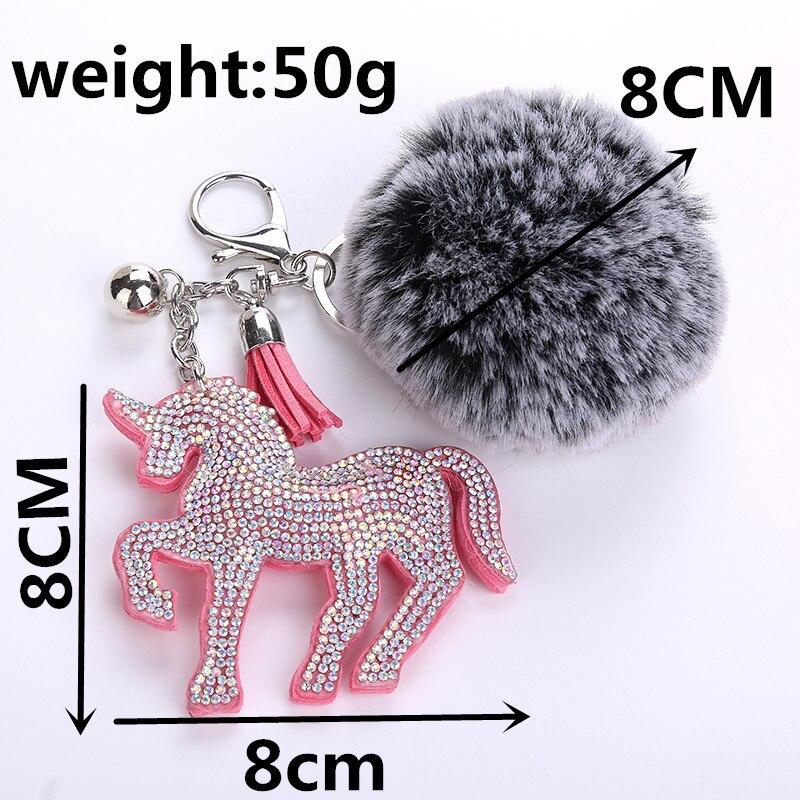 Rhinestone Horse Unicorn Key Rings Fluffy Fur Pom Pom Keychain Metal Pendant Bag Charms Handbag Accessories Purse Ornament
