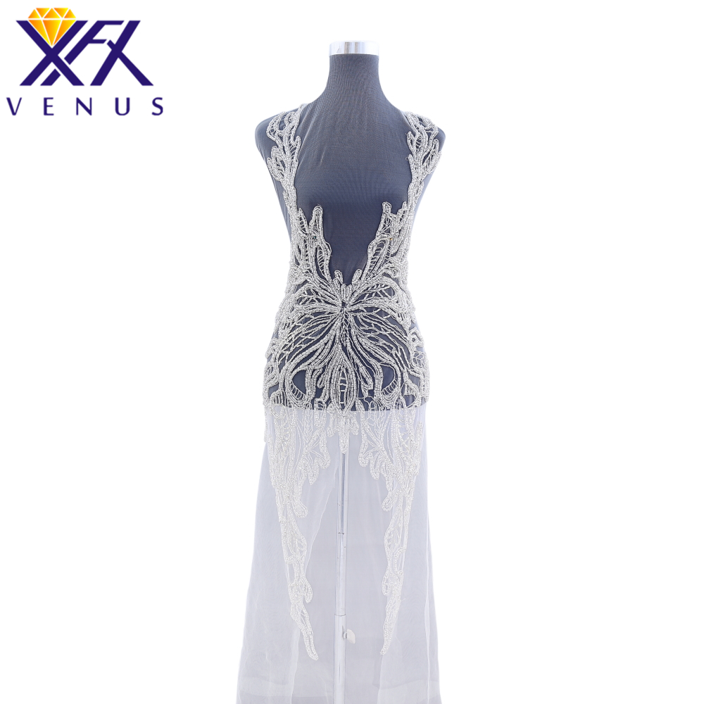 XINGFNAGXIU Rhinestones Sequins Beads Applique Crystals Decorative Patches Bridal Long Trim Dress Patch for Evening Prom