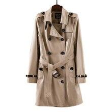 2018 novo designer cáqui macio matte couro clássico estilo dois linha botão com cinto feminino senhora outono inverno magro longo trincheira