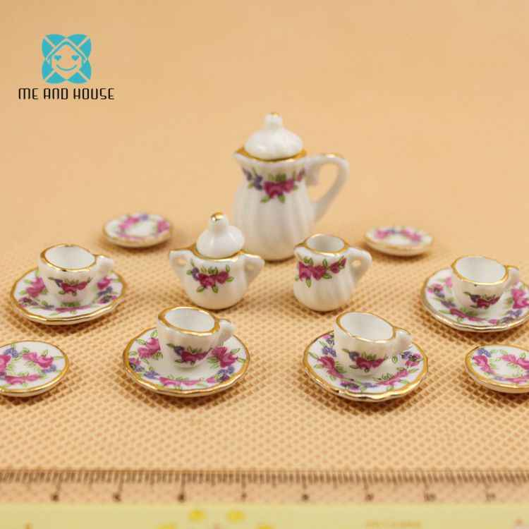 Doll House Tableware Miniature Furniture 17 PCS Purple Flower China Dolls Ceramic Tea Sets 1:12 Scale