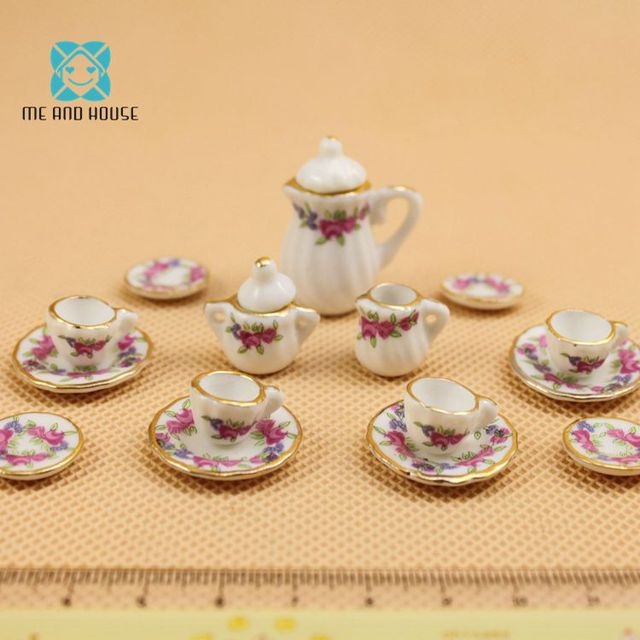 Doll House Tableware Miniature Furniture 17 PCS Purple Flower China Dolls Ceramic Tea Sets 1:12 Scale