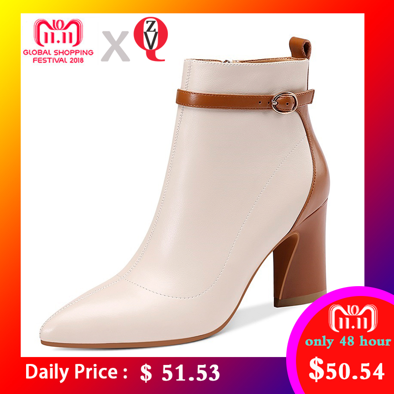 ZVQ 2018 newest fashion mixed colors genuine leather winter ankle boots pointed toe super high strange style zipper shoes women все цены