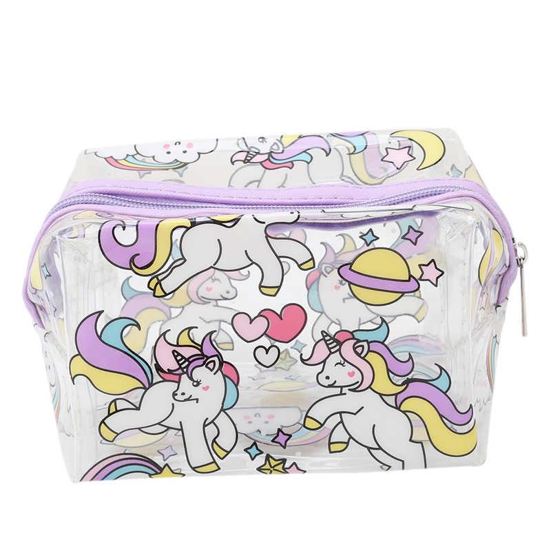 c413f3d15a9b Unicorn Transparent Makeup Bag Waterproof Zipper Toiletry Bag Portable  Women Travel Cosmetic Bags Unicorn
