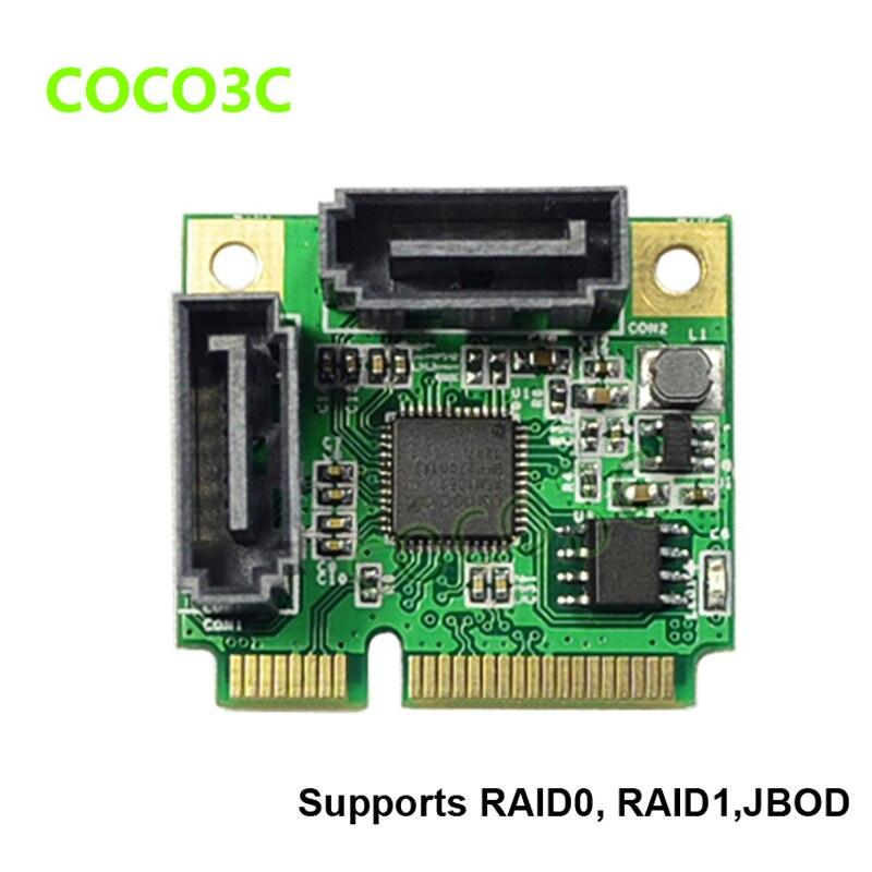 RAID 2-Ports SATA 3.0 mini PCIe Controller Card mini PCI-e to Dual SATA III 6Gb converter + RAID0 RAID1 JOBD bracket 2 port sata 6gbps pci express controller card raid 0 raid1 pci e to dual sata 3 0 with pcie low profile bracket