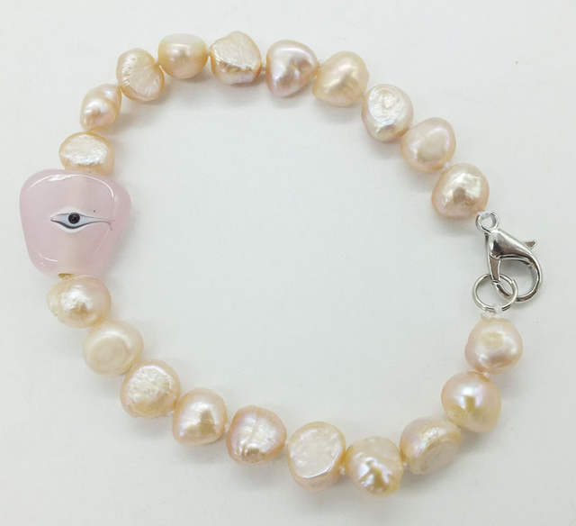 10mm Real Ivory White Baroque Pearl Bracelet Give Girl Very