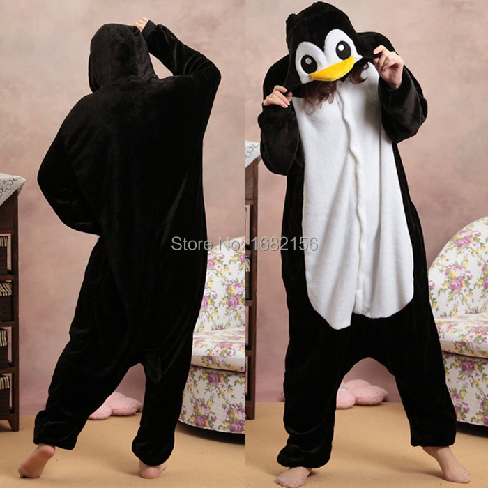 Kigurumi Black Penguin Pajamas Animal Party Cosplay Costume Flannel Onesies Game Cartoon Animal Sleepwear