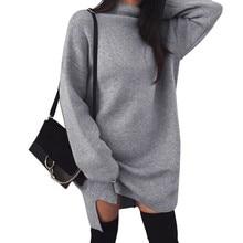 VITIANA Women Loose Casual Dress Female 2018 Autumn Winter Long Sleeve Solid Khaki Knitted Elegant Sweater Office Work Dresses