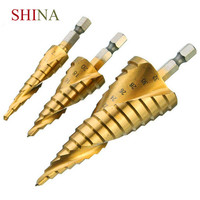 SHINA 3PCS Hex Shank HSS Reamered Titanium Spiral Slotted Step Drill 4 12 4 20 4