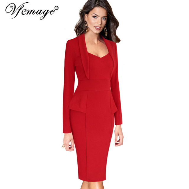 e1ecb9a667 Vfemage Womens Autumn Winter Elegant Long Sleeve Peplum Slim Wear to Work  Office Business Party Bodycon