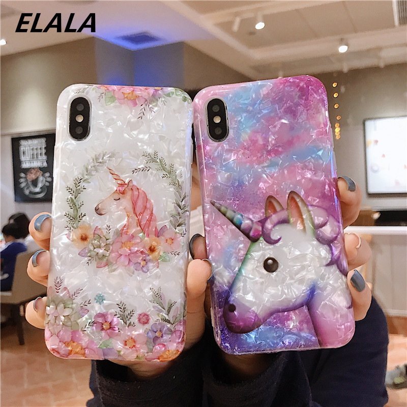 Colorful Marble Case For iPhone 7 8 Plus Epoxy Silicon Unicorn Glitter Conch Soft TPU Cover For iPhone 6s Plus X XS XR Max