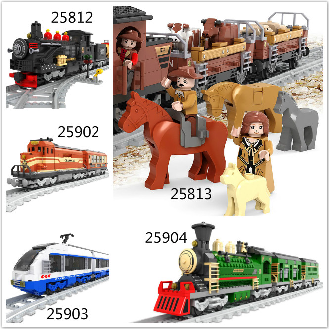 Model building kits compatible with lego ausini train succession3 3D blocks Educational model building toys hobbies for children цена