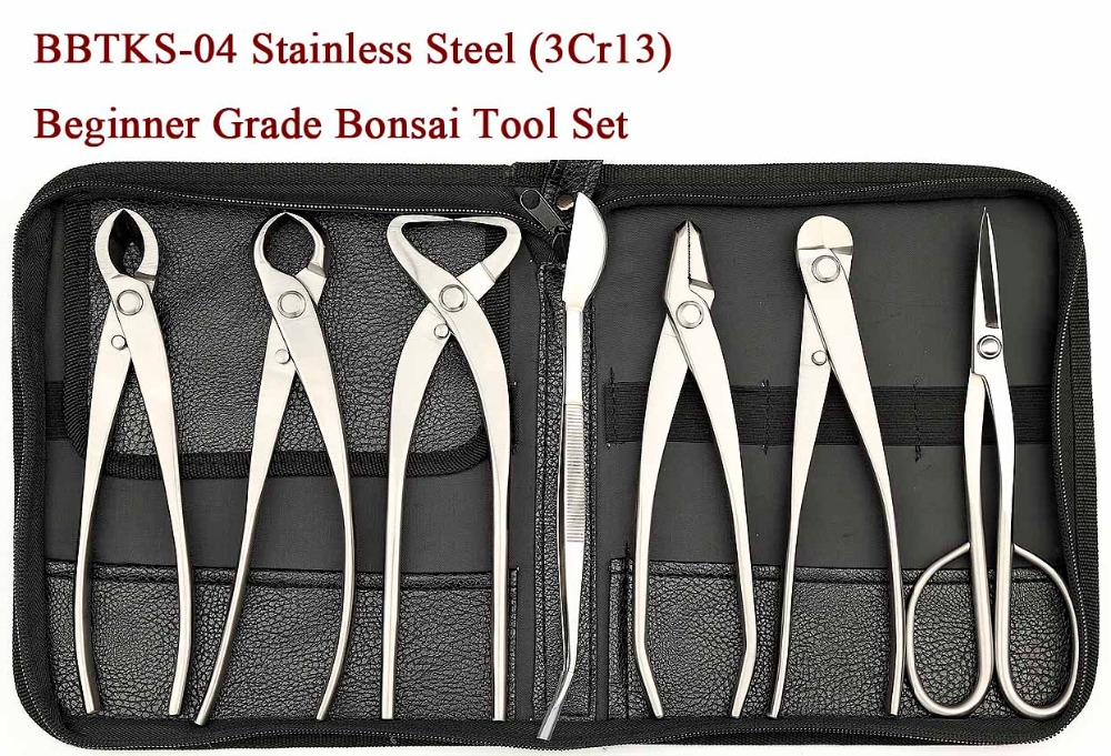 Beginner Grade 7 PCS Bonsai tool set (kit) BBTKS-04 From TianBonsai master s grade 7 pcs 8 inches bonsai tool set kit jttk 06b from tianbonsai
