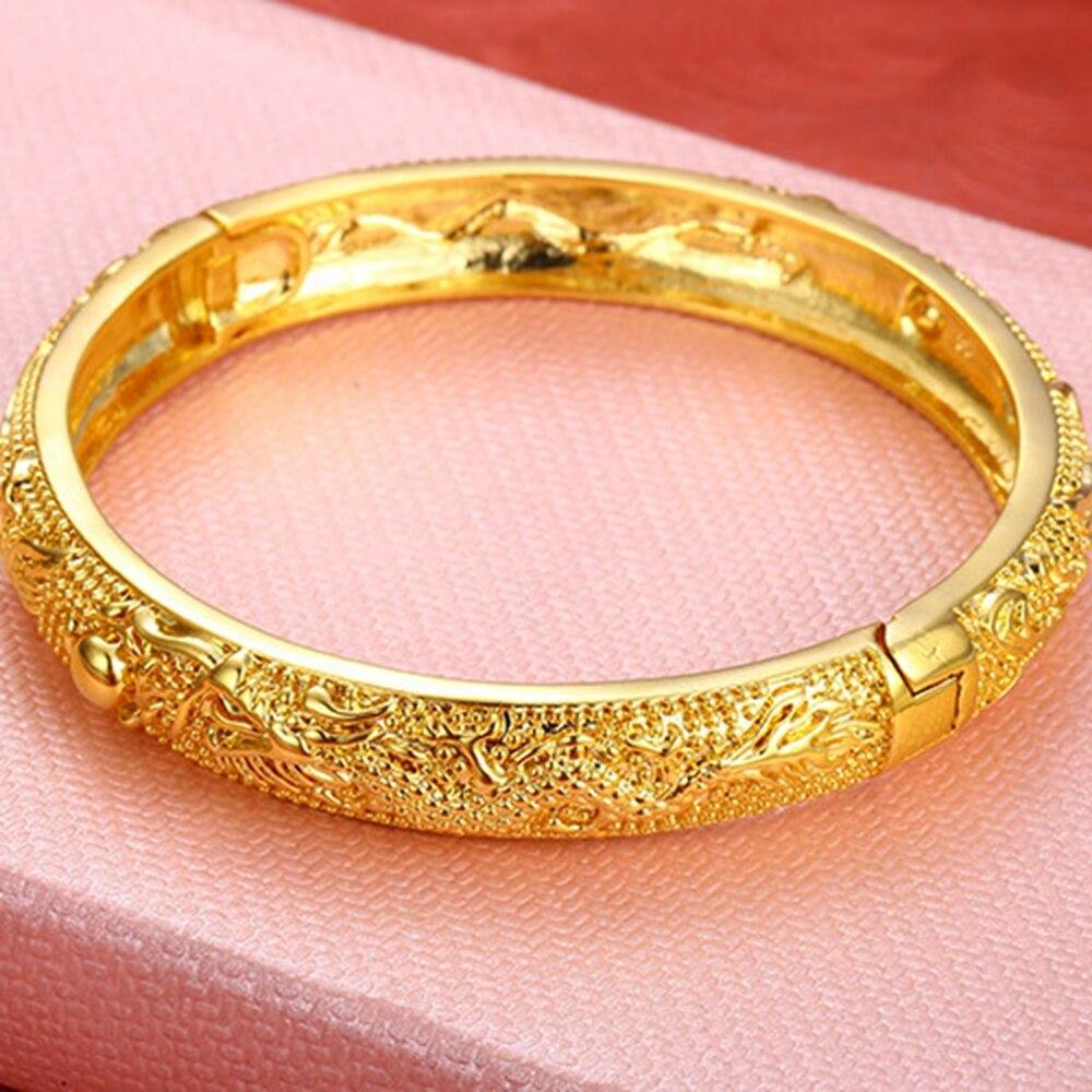 Yellow Gold Filled Womens Bangle Bracelet Wedding Party Dragon ...