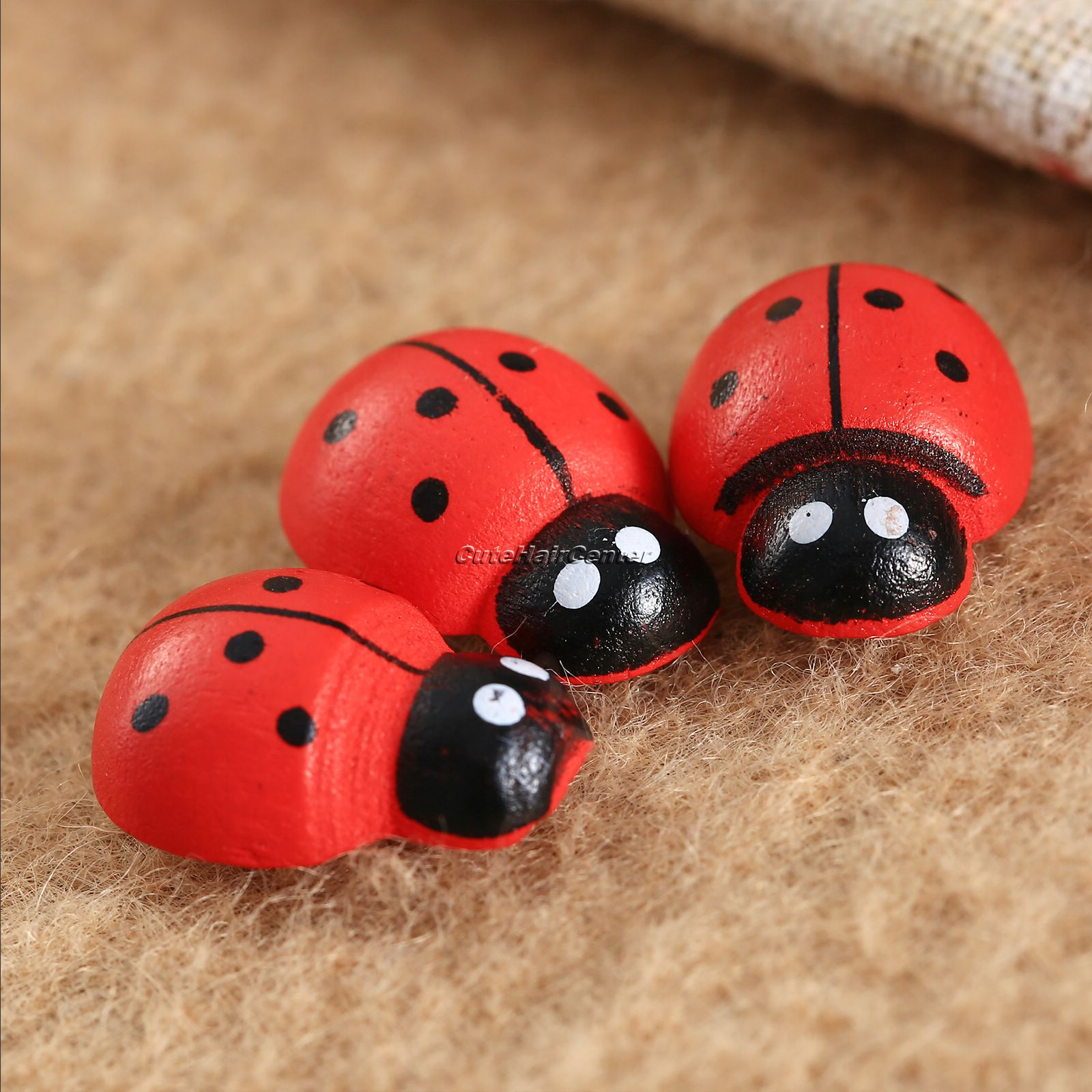 Red 3D Wooden Ladybug Stickers Scrapbooking Buttons DIY Crafts 19x14x7mm 50Pcs