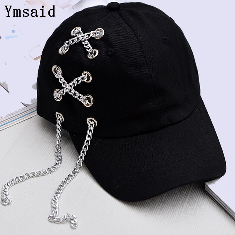 2019 Fashion Male Bones Cotton Hat Hip-hop Summer Iron Chain Snapback Curved   Baseball     Caps   Black Pink Women Hat