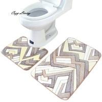 Bathroom Carpet Geometric Floral 2PCS/Set Rug Memory Foam Bathroom Rug Mat Floor Carpet Set Coral Fleece Wholesale D24