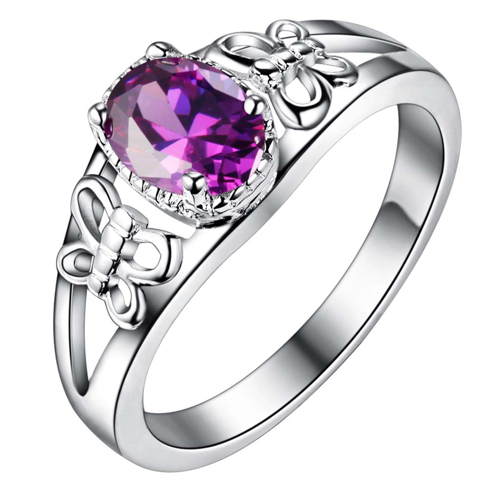 purple zircon bling Silver plated Ring Fashion Jewerly ...