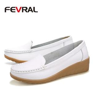 Image 4 - FEVRAL Plus di Dimensione Donna Scarpe In Morbida Pelle di Moda Donna Appartamenti Slip On Scarpe Donna Estate Casual Comfort Mocassini Scarpe Femminili