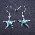 2016 Mais Novo Estilo Belas Jóias 100% 925 Sterling Silver Starfish Opala Brincos Gota com Blue Fire Opal Para As Mulheres