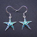2016 Newest Style Fine Jewelry 100% 925 Sterling Silver Starfish Opal Drop Earrings with Blue Fire Opal For Women