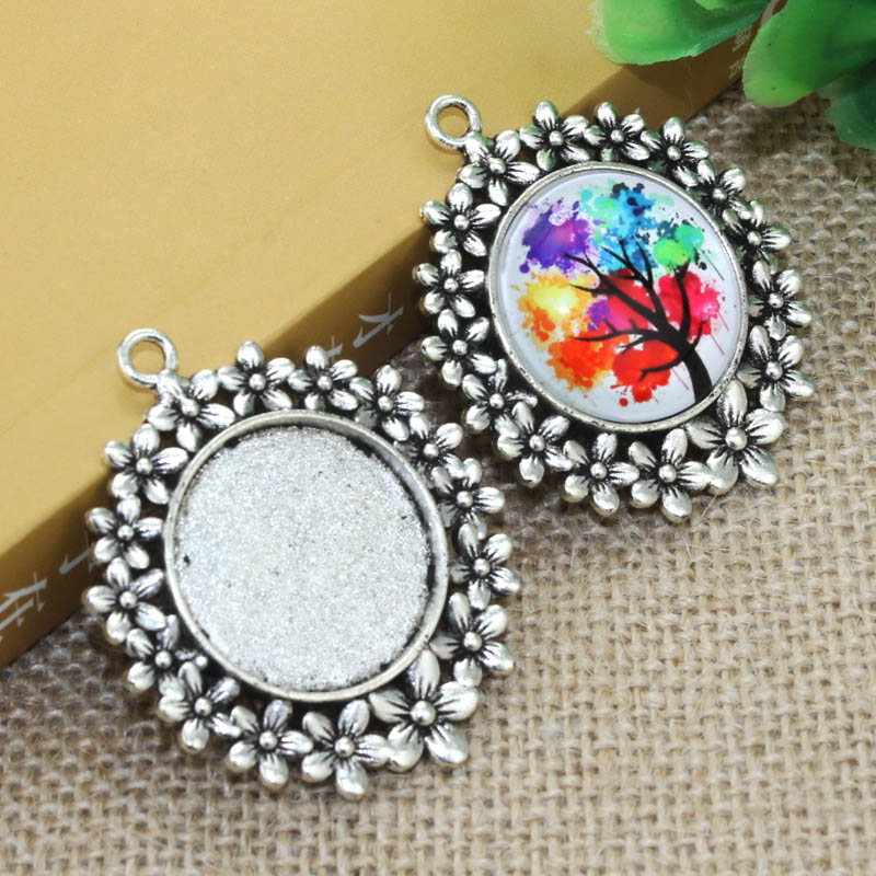 Zinc alloy Silver flower Necklace Pendant 5pcs 25mm Inner Size Cameo Cabochon Base Base Tray Bezel Blank F-020111 alloy rose flower pendant necklace