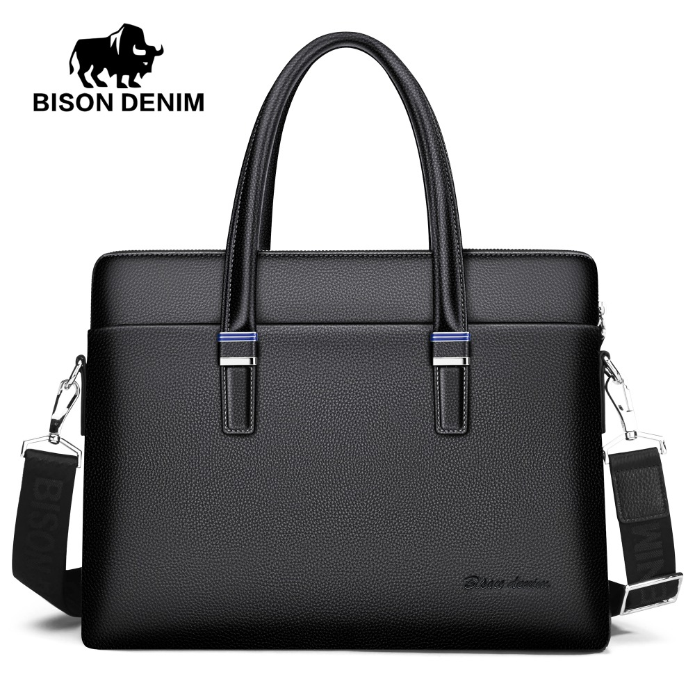 BISON DENIM luxury genuine leather men bag brand handbag shoulder bags business men briefcase laptop 100% genuine leather men bag brand designed men laptop briefcase business bag cow leather men handbag shoulder bag messenger bag