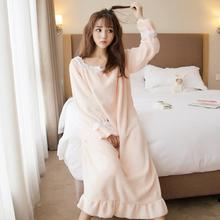 eb6ecd682d 2017 Winter Cute Flannel Princess Nightgowns Women Casual Long Sleeve Warm  Soft Sleeping Dress Thicken Loose Ruffles Sleepwear