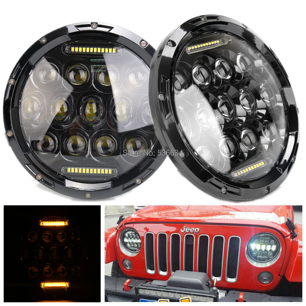 1Pair 7Inch LED Round Headlights Projector Amber DRL Off-road Light Hi/Low For Jeep Wrangler LJ Unlimited, Jeep CJ-8 Scrambler