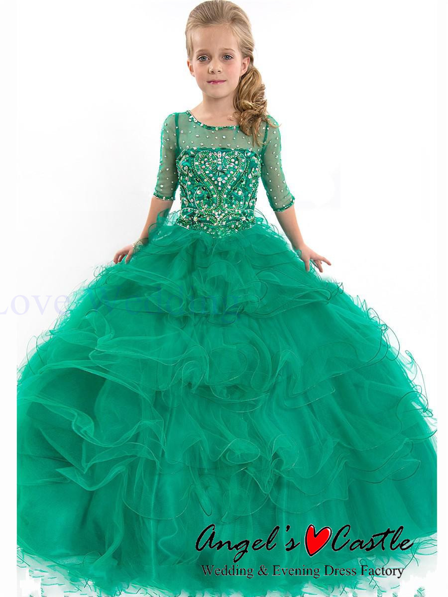 2015 Ritzee Girl Pageant Dresses Half Sleeves Little Girl Prom Gown ...