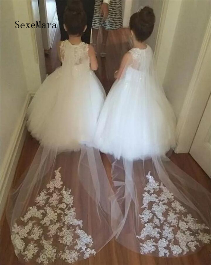 Flower Girls Dresses For Weddings Lace Illusion White Jewel Neck Sweep Train Party Birthday Dress Children Girl Pageant Gowns