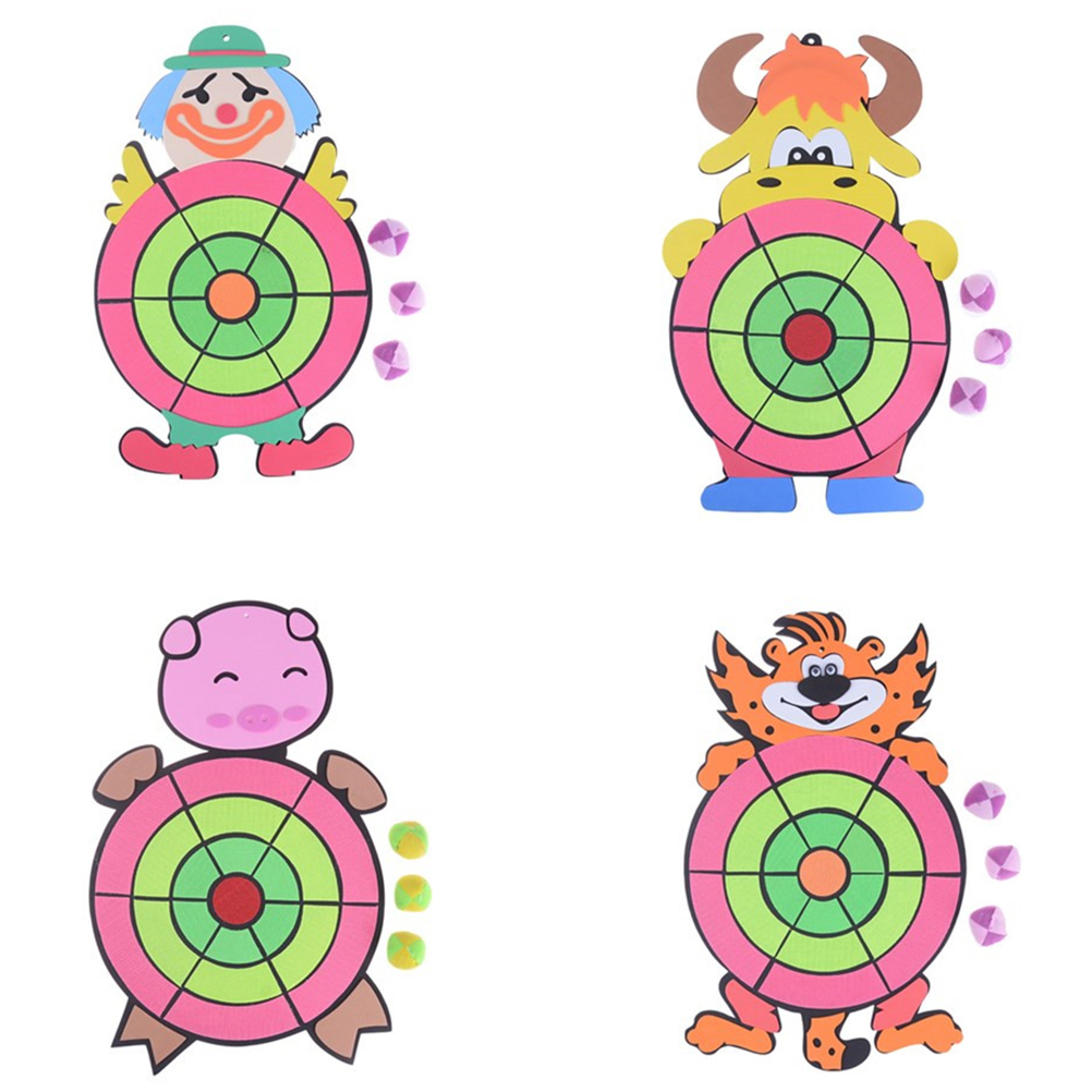 Cute 1set Cartoon Animal Children Sticky Ball Sandbag Throwing Target Plate Game Kindergarten Baby Indoor Outdoor Fun Toy Sports