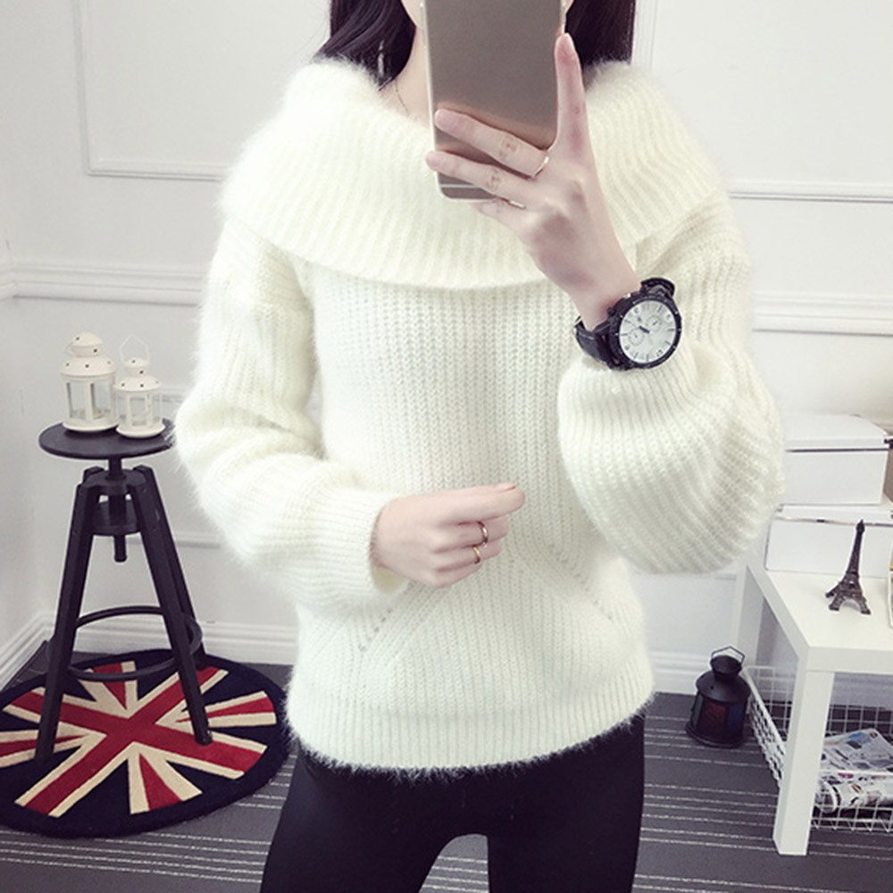 2018 Winter Casual Elegant Beige Office Lady Vintage Women Tops Slim Thick Plain Slash Neck Female Fashion Gray Sweet Sweaters 6