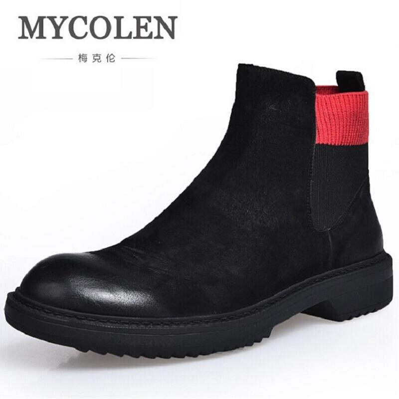 MYCOLEN Men Boots Genuine Leather Italian Black Luxury Fashion Handmade Man Ankle Chelsea Brand Shoes Botte Homme