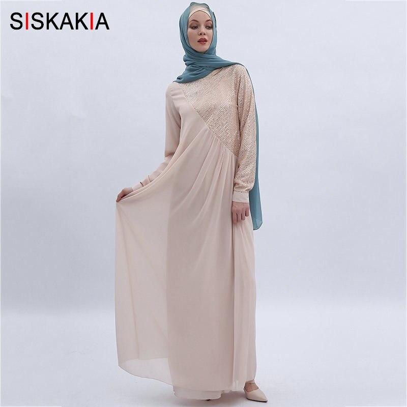 Siskakia haute qualité en mousseline de soie longue robe de mode paillettes Patchwork Maxi robes musulmanes femmes Jubah solide été 2019 - 2
